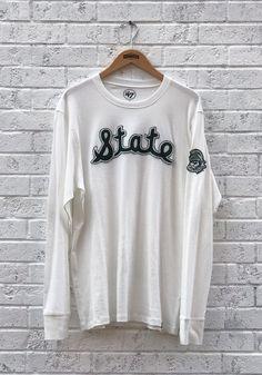47 Michigan State Spartans White Fieldhouse Long Sleeve Fashion T Shirt - 48002665 Vintage Jerseys, Michigan State Spartans, White Long Sleeve, Graphic Sweatshirt, T Shirt, Tees, Sweatshirts, Sleeves, Sweaters