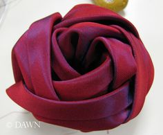 Fabric cabbage Rose. Tutorial. Idea - add a pretty button or old ear-ring for centre.