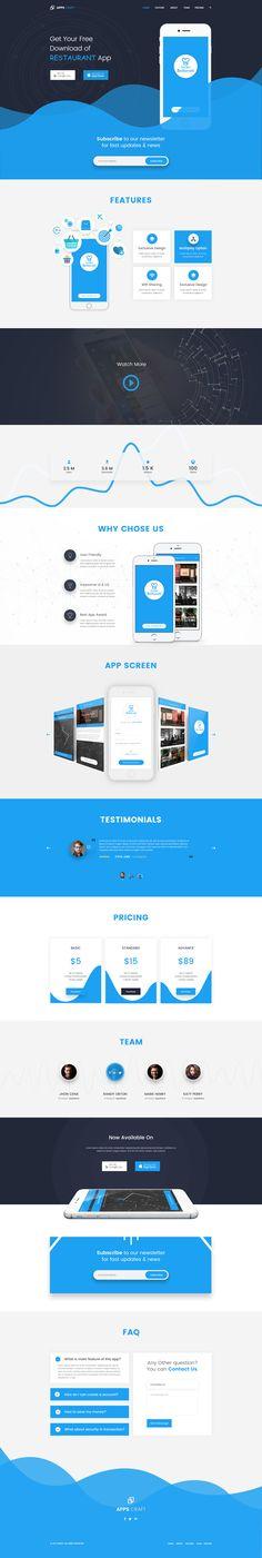 Apps Craft - App Landing PSD Template #marketing landing page #marketing template #mobile app • Download ➝ https://themeforest.net/item/apps-craft-app-landing-psd-template/19675499?ref=pxcr