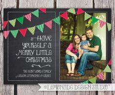 Christmas Card Chalkboard Bunting Photo Card Merry Little Christmas Printable