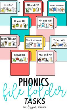 Engage your students and provide needed practice with decoding and recognizing phonetic words with these easy to assemble file folder tasks. This product includes 42 printable file folder tasks for practicing reading CVC words, CVCe words, and words with File Folder Activities, Word Work Activities, Folder Games, Reading Activities, Educational Activities, First Grade Phonics, Teaching First Grade, Teaching Reading, Guided Reading