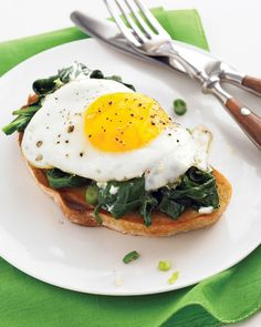 A pound of spinach, wilted with scallions and tossed with goat cheese, adds a lush, leafy spin to an egg dish that would pair nicely with a bowl of soup.