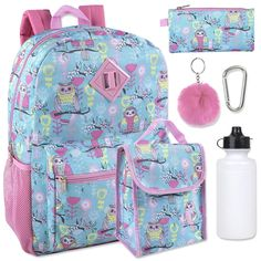 3pcs Set Unicorn School Rucksack Backpack P.E Gym Drawstring Bag Pencil Case