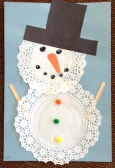 such a sweet little snowman!  A great way to use up those doilies that so many of us have laying around!