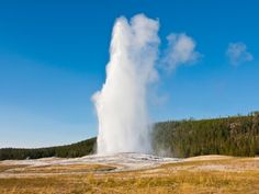 Wait for Old Faithful to erupt in Wyoming's Yellowstone National Park.