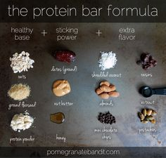 Protein Energy Bites formula for protein bars (or energy balls) energy balls Balls Bars Bites Energy Formula Protein Protein Bar Recipes, Protein Foods, Raw Food Recipes, Healthy Recipes, Homemade Protein Bars, Homemade Kind Bars, Protein Desserts, Diet Desserts, Protein Cookies