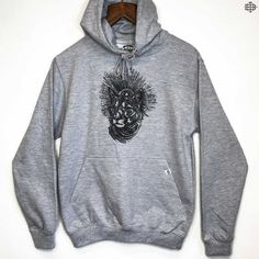 THE BEARHUG CO - Mountain Lion Print - Heather Grey Hoodie