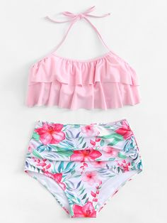 Shop Flounce Halter Top With Flower Print High Waist Bikini online. SHEIN offers Flounce Halter Top With Flower Print High Waist Bikini & more to fit your fashionable needs. Bathing Suits For Teens, Summer Bathing Suits, Cute Bathing Suits, Trendy Bikinis, Cute Bikinis, Flounce Bikini, Floral Bikini, Kids Suits, Bikini Outfits