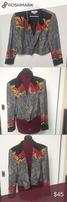 Women's Vintage 90s Jacket Has a Paisley and Rose Pattern. Stylish Vintage Jacket! 90s era 100% Polyester laura & jayne Jackets & Coats