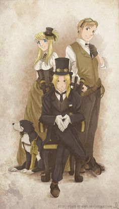 Steampunk Fullmetal Alchemist// edited by ~peace-of-hope on deviantART. Original picture here by Hiromu Arakawa :http://ic.pics.livejournal.com/peace_of_hope/14846190/35520/35520_original.jpg
