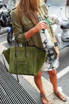 celine.  moss green suede, sandals.  mix.
