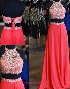 2016 Lace Prom Dresses With Sheer Backless Evening Gowns Open Backs Chiffon 2 Pieces Formal Gown For Teens