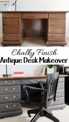 Antique Desk DIY makeover - This chalk paint furniture makeover is created for a patriotic and masculine office space. The Prairie Colors dark gray paint really pops against the brass knobs.