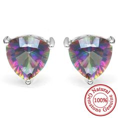 4.5ct Genuine Nature Rainbow Fire Red Multicolor Mystic Topaz Earrings Stud