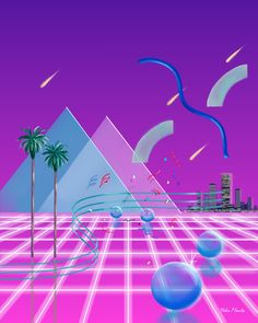 This is another amazing drawing by Yoko Honda. 90s Design, Graphic Design, New Retro Wave, Vaporwave Art, South Beach Hotels, Waves, Glitch Art, 80s Aesthetic, Pastel Art