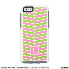 Preppy Pink and Lime Herringbone Monogram OtterBox iPhone 6/6s Case