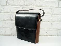 Vintage black brown bicoloured leather bag by itsvintageindeed, £12.00