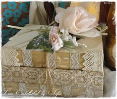 Book Bundles with Antique Lace Trim Vintage Early Mid Century Distressed Book Stack