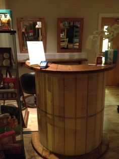 Salon reception desk made from a cable reel drum, Not a cable reel drum coffee coffee tables