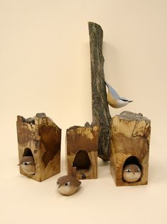 Delighted to let people know that the talented Nick Hunter has delivered some more of his exquisite carvings to the gallery today. #Wren #nuthatch #birds