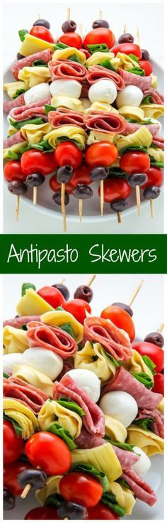 Antipasto skewers = easiest appetizer EVER. Antipasto skewers = easiest appetizer EVER. Finger Food Appetizers, Appetizers For Party, Finger Foods, Appetizer Recipes, Appetizer Skewers, Cold Appetizers, Salad Recipes, Detox Recipes, Easiest Appetizers