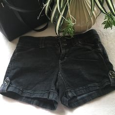 White House Black Market Shorts/ final markdown  Black denim shorts with pockets on the front and back. Excellent condition White House Black Market Shorts