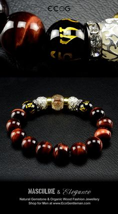 ♂ Unique Fashion Jewelry for Men - Rutilated red tiger's eyes black onyx and…