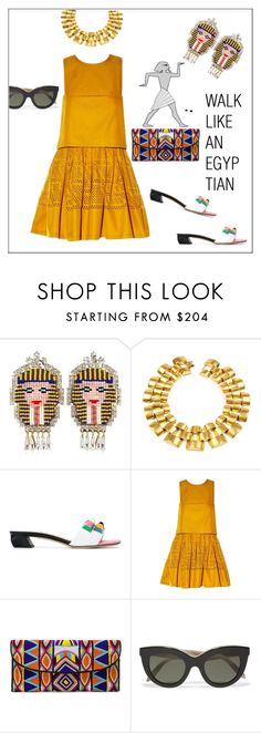 """""""Walk like an Egyptian"""" by frenchfriesblackmg ❤ liked on Polyvore featuring Shourouk, Ben-Amun, Fendi, ASPIGA and Victoria Beckham"""