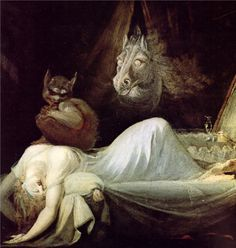 """The Nightmare"" by John Henry Fuseli (Johann Heinrich Füssli), (Goethe-Museum, Frankfurt). Städel Museum, Francisco Goya, Arte Obscura, Night Terror, William Blake, Arte Horror, Horror Art, Mythical Creatures, Mythological Creatures"