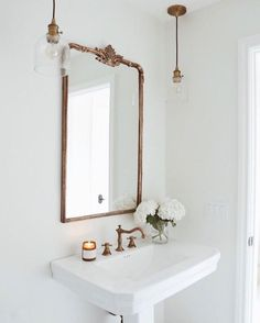 Self-care starts with the Madeleine Mirror ✨Photo via White Bathroom, Bathroom Interior, Home Interior, Modern Bathroom, Small Bathroom, Interior Design, Bathroom Ideas, Mirror Bathroom, Bathroom Lights Over Mirror