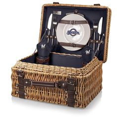 half off 29ac9 1cb1f Milwaukee Brewers Picnic Basket With Service For 2 Picnic Set, Picnic  Basket Set, Picnic