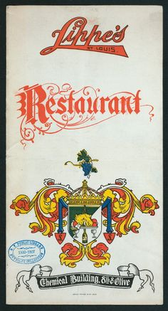 Lippe's menu from Graphic Design Books, Book Design, Typography Letters, Hand Lettering, Word Fonts, Library Locations, Vintage Monogram, Vintage Type, New York Public Library