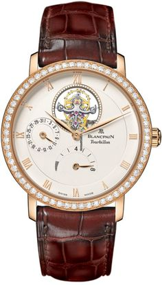 Blancpain Villeret Tourbillon 8 Day Power Reserve $97,360 #Blancpain #watch #watches #luxury #chronograph rose gold case with crocodile skin bracelet and automatic movement