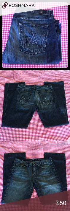 7 For All Mankind 🖤 Men's A Pocket Boot Cut Jeans 7 For All Mankind 🖤 Men's A Pocket Boot Cut Jeans. Dark Blue wash with whisking and fading. Classic style, Size 33. In good used condition there is a few fabric flaws from the factory (check pictures) Little wear on bottoms most of it is part of the style they have been hemmed. 7 For All Mankind Jeans Bootcut