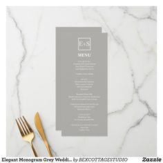 Shop Elegant Monogram Grey Wedding Menu created by BEXCOTTAGESTUDIO. Wedding Menu Cards, Wedding Day, Olive Gardens, Gray Weddings, Monogram Wedding, Cocktail Drinks, Zazzle Invitations, Wedding Designs, Note Cards