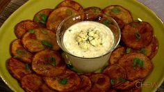 Michael Symon's Potato Nachos with Blue Cheese Fondue recipe. #thechew
