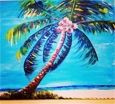 This coconut palm tree looks like it is set in a tropical island. It shines against the beautiful blue sky. It is a acrylic on canvas original. Coconut Palm Tree, Tree Paintings, Art Things, Summer Art, Art Journaling, Palm Trees, Ideas Para, Original Artwork, Modern Art