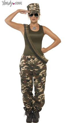 Camouflage Cutie Costume, Sexy Army Costume for Women, Sexy Camouflage Pants Tank and Hat