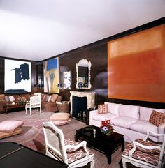 The living room of Mr. and Mrs. Lee Eastman's New York apartment designed by Billy Baldwin