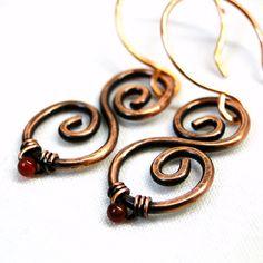 wire jewelry design ideas | Copper Wire Jewelry Genuine Red Agate Scroll by KariLuJewelry