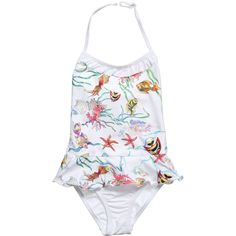 Fun & Fun Baby Girls White Swim Suit with Fish at Childrensalon.com