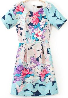 Blue Short Sleeve Floral Slim Dress 22.67