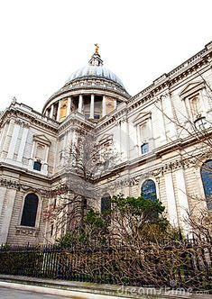 A view of the famous dome of St Paul`s cathedral in the city of London.
