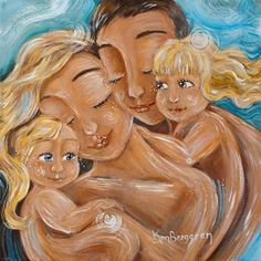 Folding Together - father, mother and 2 kids print by Katie m. Berggren