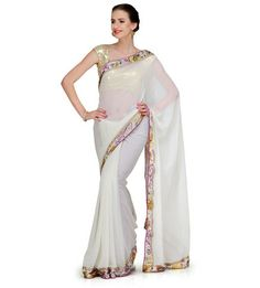 Off White Georgette Saree with Mukaish Work | Fabroop