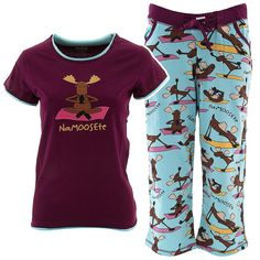Lazy One Na-moose-te Capri Pajama Set for Juniors - If you need something lightweight to slip into after an afternoon of yoga think about these NaMoosete Capri pajamas. They feature a cheeky moose print top coupled with lightweight, Capri length bottoms. The brand is Lazy One.