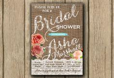 mint coral shower invite, rustic burlap lace, bridal shower invite, shabby chic invite,  PROOF in under 48hrs via Etsy