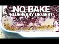 Whip up a dreamy no bake blueberry dessert, aka blueberry delight, with cream cheese, Dream Whip, blueberry pie filling, and a pecan crust. Easy recipe!