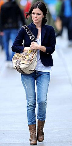 Look of the Day › May 4, 2009 Bilson accessorized jeans and a jacket with a patchwork bag from Jimmy Choo.