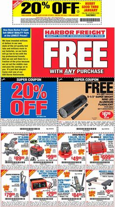 Harbor Freight: 20% off Purchase Coupon! + FREE Flashlight & Multi-Purpose Scissors Coupon! Read more at http://www.stewardofsavings.com/2014/04/harbor-freight-free-led-flashlight.html#dbi3bq07x5rt5RMR.99